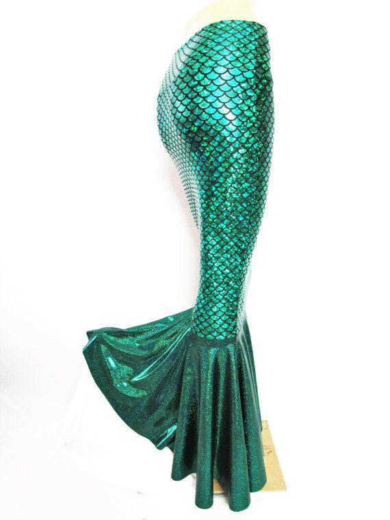 Green Mermaid scale skirt Stretch Costume by ZanzaDesignsClothing