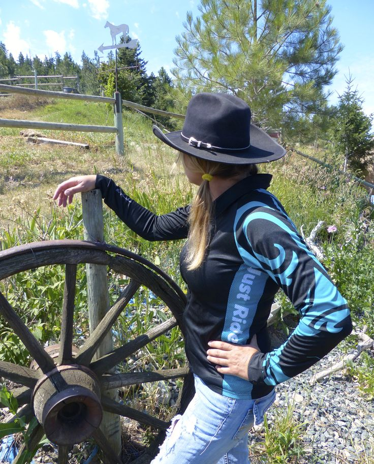 Just Ride in Teal, worn as a western shirt