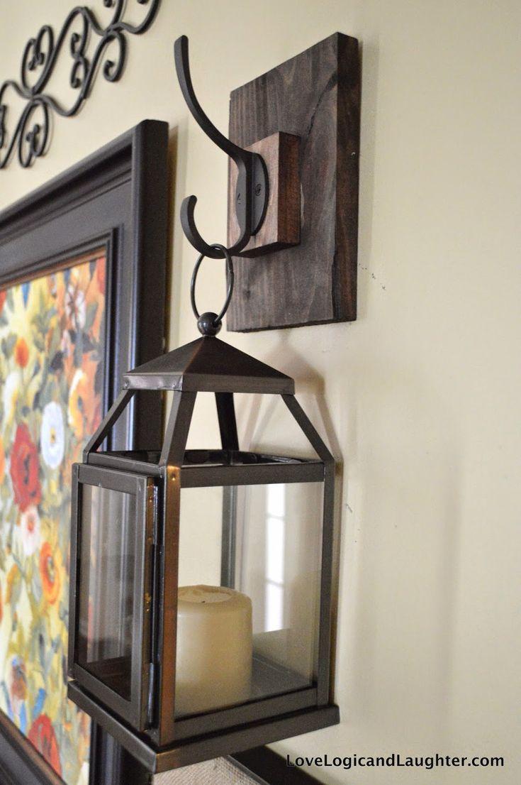 Patio wall decorating ideas - Wall Lantern Hooks For My Entryway Diy