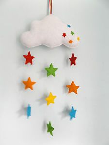 Handmade+felt+baby+mobile,+cloud+and+rainbow+stars,+nursery+decor,+baby+gift+