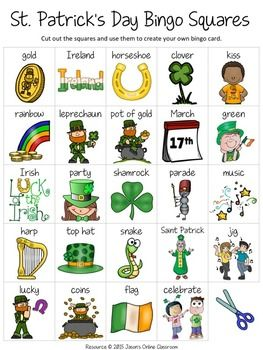 "St. Patrick's Day Free Create Your Own Luck Bingo - This resource includes 24 St. Patrick's Day related images and vocabulary words and a blank ""MY BINGO CARD"" template that students can use to create their own unique St. Patrick's Day themed bingo cards.DOWNLOAD."