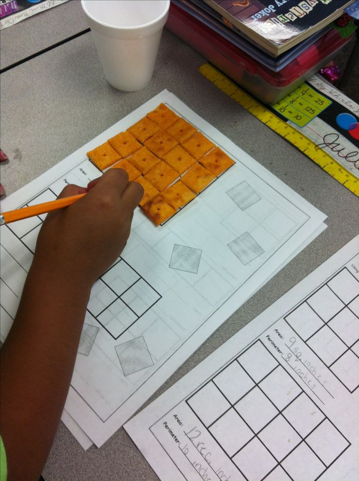 Free area and perimeter activity -- use cheese crackers to find area. So smart, much more effective for hands on learners when you are introducing it as a new concept