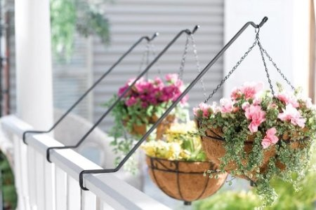 Deck railing hanging planter basket rods by collections - Hanging baskets for balcony ...