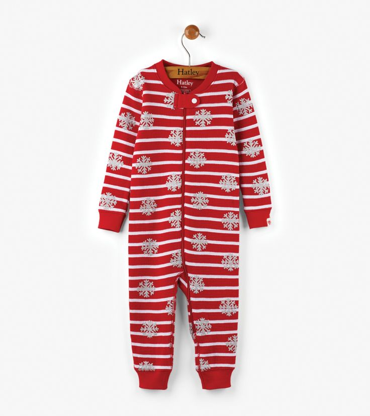 Candy Cane Organic Cotton Baby Waffle Coverall - Baby Girls - Shop All - Sleepwear  | Hatley Canada
