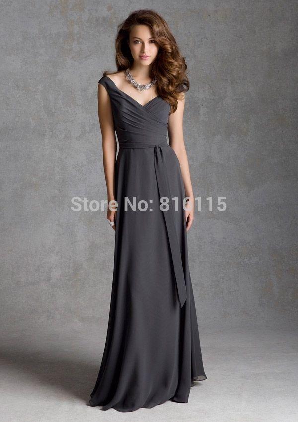 Серые платья невесты длинные шеи шифон с поясами Vestidos де изящные платье невесты