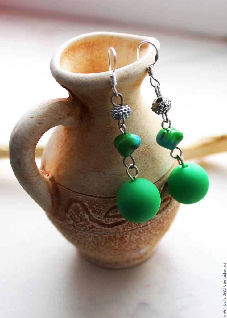 Купить Серьги ярко-зеленые - зеленый, ярко-зелёный, ярко зеленый, Керамика, керамическая бусина