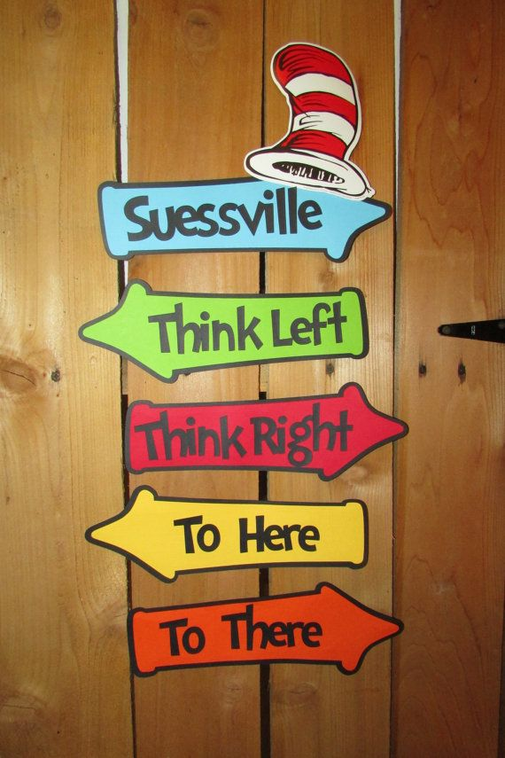 dr Suess inspired whimsical directional signs - party sign - cat in the hat themed sign