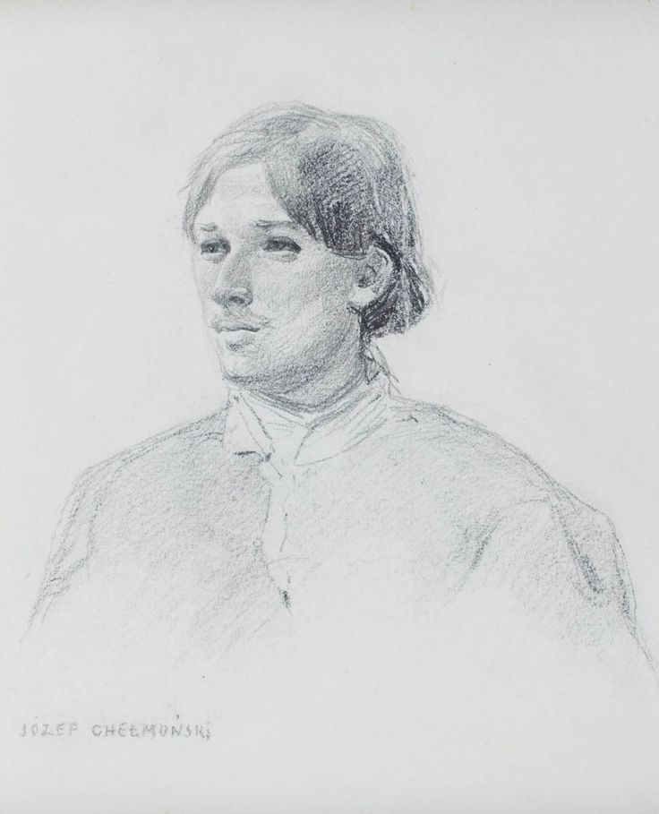 JÓZEF CHEŁMOŃSKI (1849 - 1914)  PAROBCZAK   ołówek, papier / 29 x 16,5 cm w świetle passepartout  sygnowany po lewej stronie u dołu: JÓZEF CHEŁMOŃSKI
