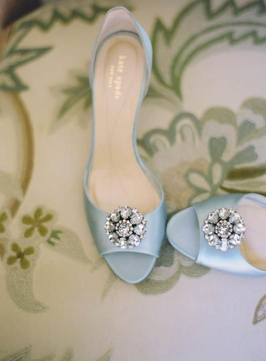 Glamorous pastel blue wedding shoes. #katespade