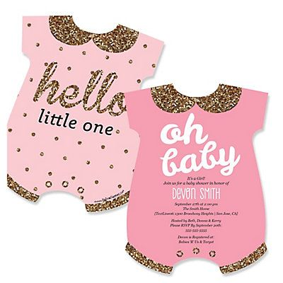 Hello Little One   Pink And Gold   Girl Baby Shower Invitations