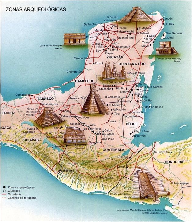 Map of Mayan Archeological Sites