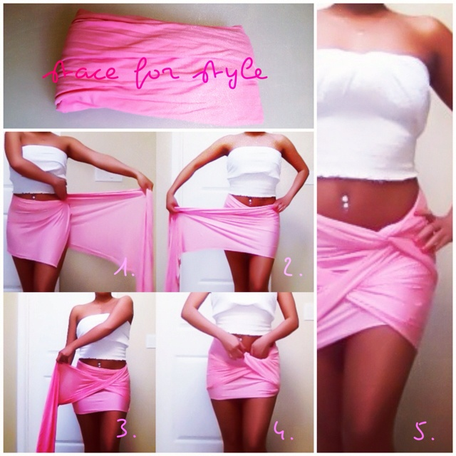 diy scarf draped skirt.... I did this at the summer music festival I went to last year.. cute and comfortable!!