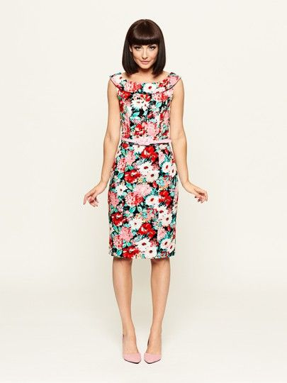 Luxembourg floral dress with the cutest candy pink belt!