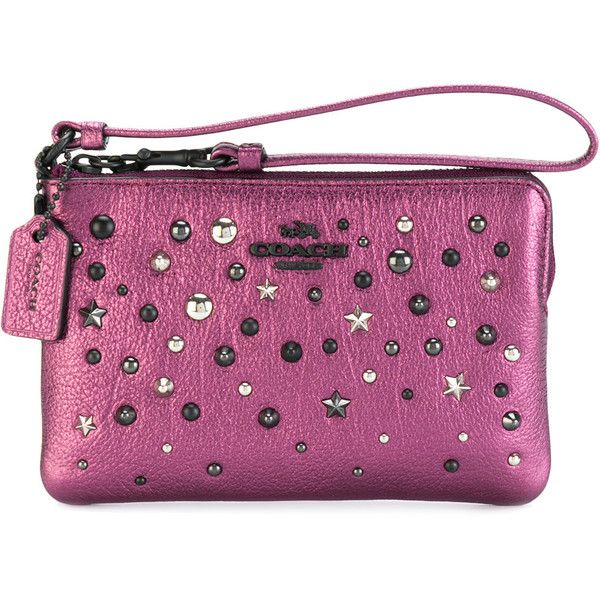 Coach studded wristlet purse (14450 ALL) ❤ liked on Polyvore featuring bags, handbags, clutches, man bag, coach clutches, wristlet purse, wristlet clutches and purse wristlet