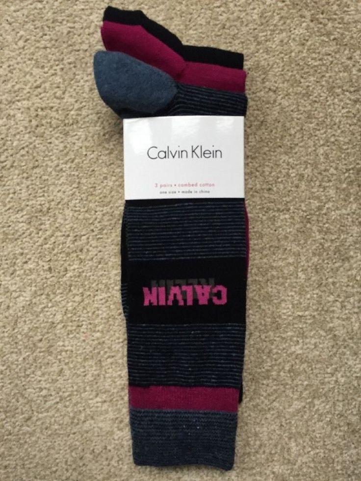 CK 3 CALVIN KLEIN Cotton Blend sock set BNWT Black&Grey&Pink