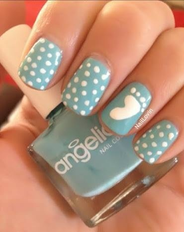 Baby blue. Class nails for a baby shower