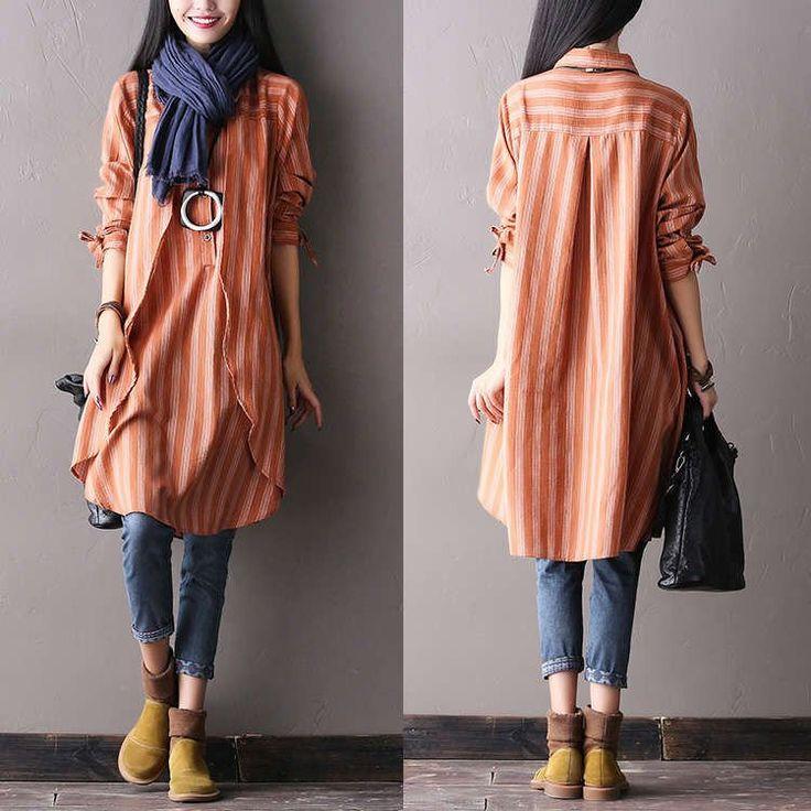 Women autumn long sleeve cotton irregular shirt dress