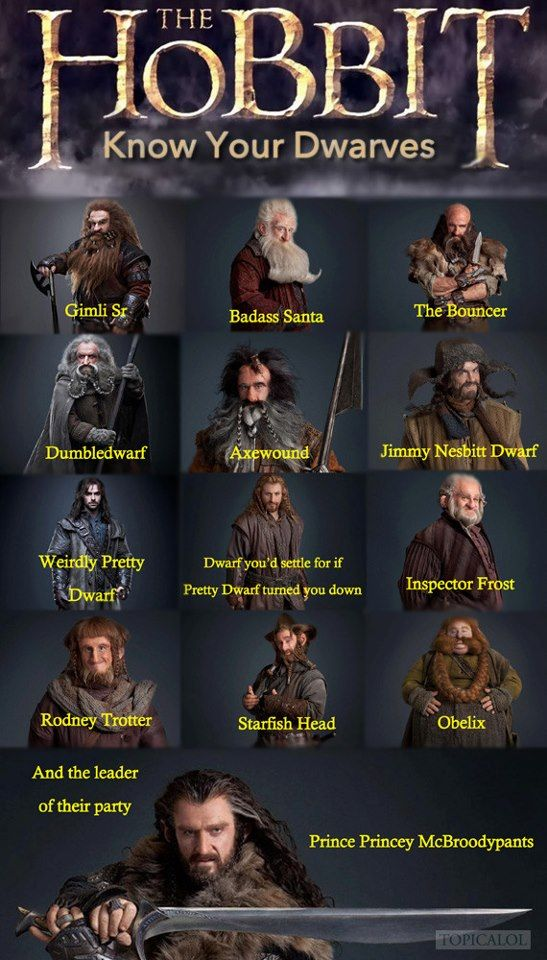 The Hobbit. Love Kili and Fili's description, although I'd rather get with fili