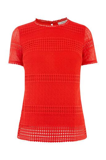 Oasis, MARAIS LACE TEE Mid Red