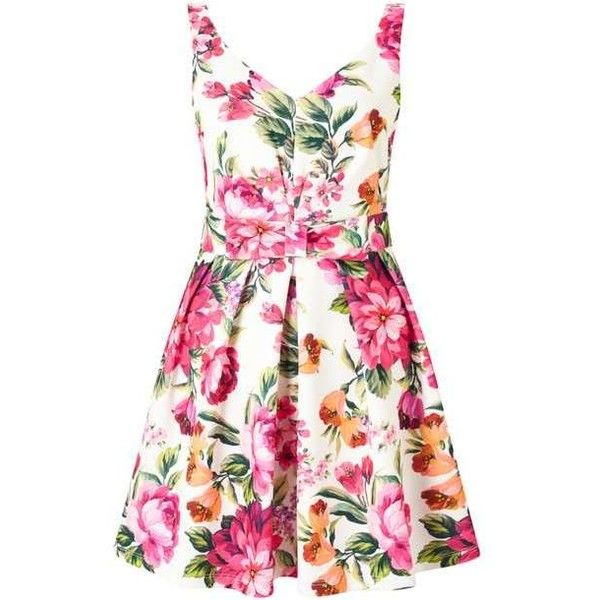 PETITE Floral Prom Dress (8465 RSD) ❤ liked on Polyvore featuring dresses, pink floral dress, miss selfridge dresses, petite dresses, prom dresses and flower pattern dress