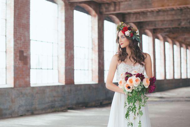 Winter wedding inspiration : Floral Crown. McKinney Cotton Mill.