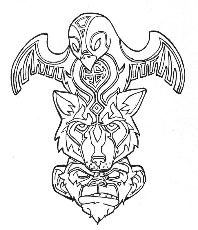 totem pole animal coloring pages - photo#21
