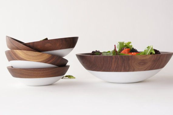 White: Salad bowl set, 4-7 bowls and 1-12 bowl. (this set comes PRE SEASONED)  Set of 4 small bowls and one large wooden bowl, perfect for a Summer