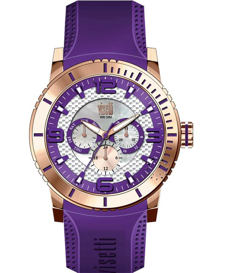 VISETTI New Era Rose Gold Purple Rubber Strap Μοντέλο: PE-750RP Τιμή: 120€ http://www.oroloi.gr/product_info.php?products_id=39496