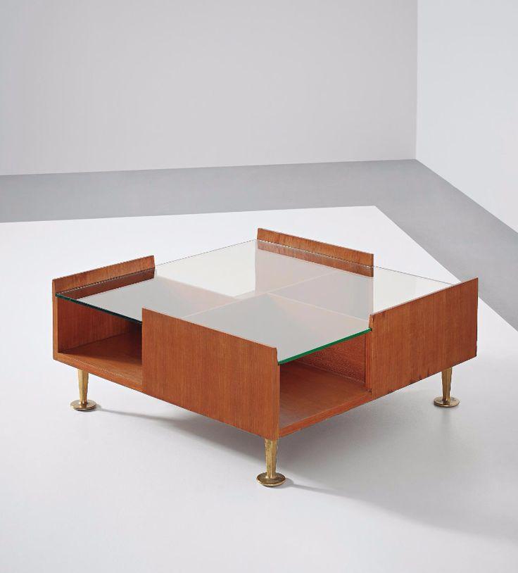 Gio Ponti; Unique Mahogany, Glass And Brass Coffee Table, 1960s.