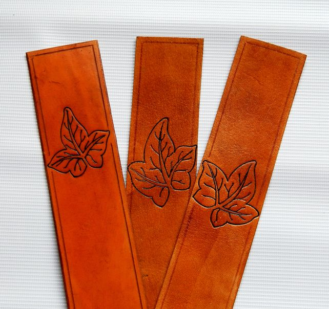 Leather Bookmarks, leaf, Celtic knot bookmark.  3rd anniversary gift