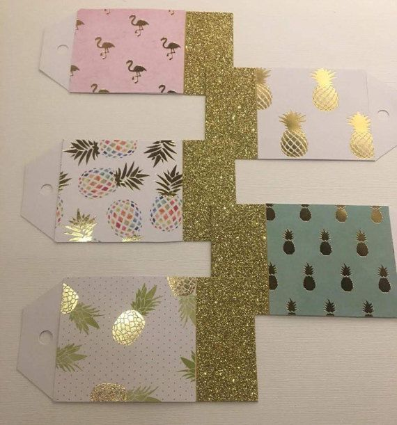 Pineapple Party Pack Gift Tags // Pineapple // Flamingo // Pink and Gold // Party Decor // Gift Tags // Customizable Gift for Her / Handmade