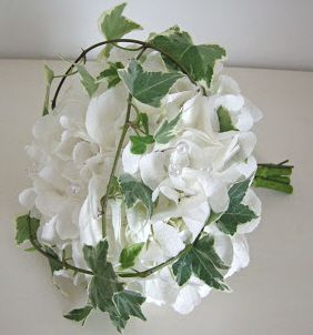 White Hydrangea with Ivy cage