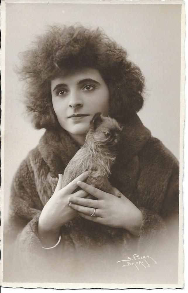 lady w BRUSSELS GRIFFON puppy DOG old RPPC SIGNED photo postcard