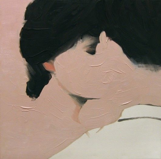 pink and black. kiss painting. Jarek Puczel.