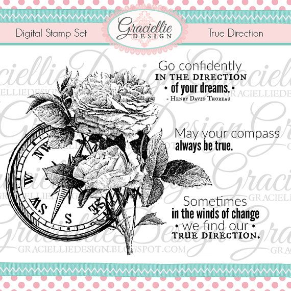 True Direction Digital Stamp Set by GraciellieDesign on Etsy