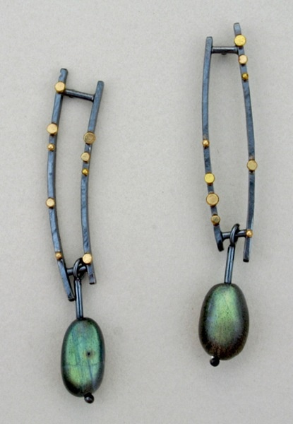 These earrings are fantastic! Parallel Bars by Sydney Lynch. 18k gold, labradorite and oxidized sterling.