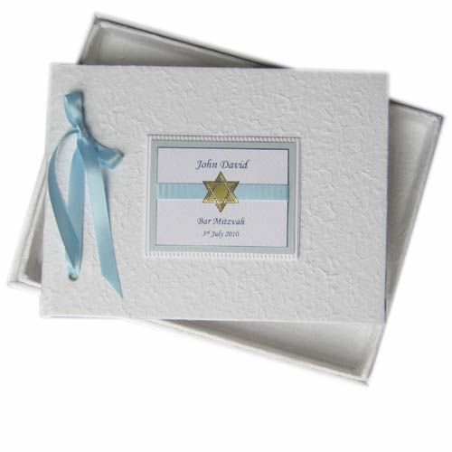 Bar Mitzvah gift idea - personalised photo albums, guest books and keepsake boxes - matching invitations available