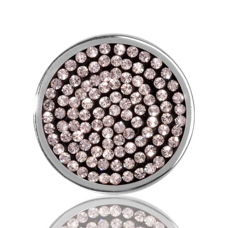 Nikki Lissoni Silver Plate Swarovski Black Crystal Coin 23mm