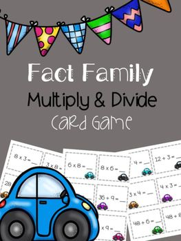 This fun multiplication and division fact family card game is perfect for workstations, table groups, small groups, early finishers or test review. There are 60 cards, representing 15 multiplication and division fact families. Problems have 1 digit x 1 digit multiplication facts and 2 digit divided by 1 digit division facts.
