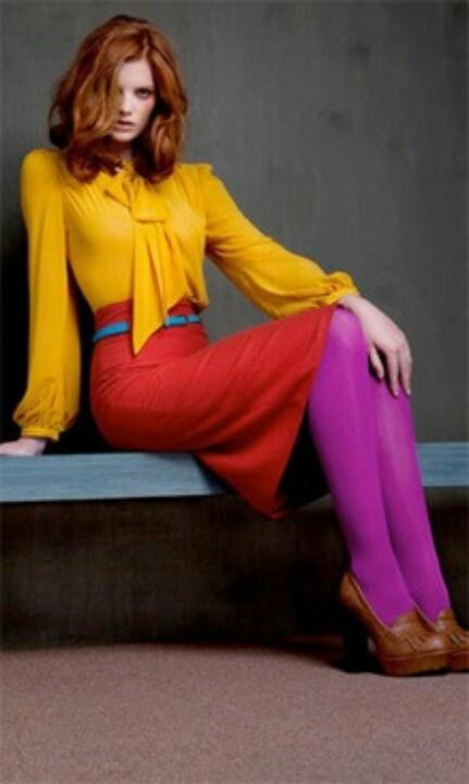 .yellow, orange skirt, pink stockings
