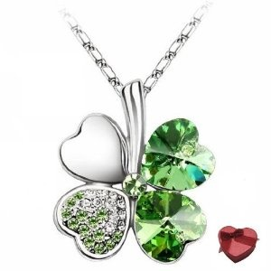 Valentines Day Gifts Swarovski Austrian Crystal Elements Lucky Heart-shaped Four-leaf Clover Pendant Necklace - 18 Inch Chain 18k True Platinum Electroplate - Olive Green