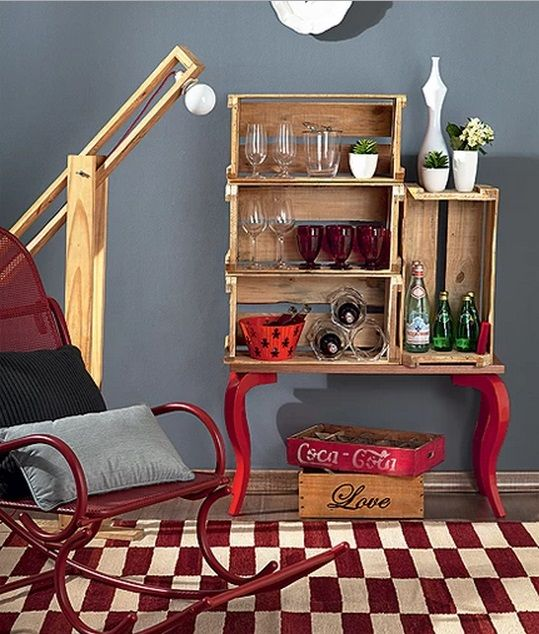 oi gente bar recycled furniture wooden case wood nightstand carpets