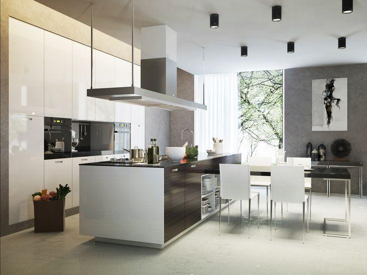 Moderne offene Wohnküche in Holzoptik