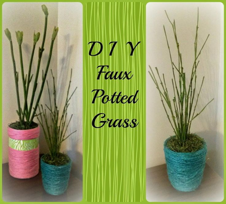 DIY Spring Decor : DIY Faux Potted Grass Spring Decoration