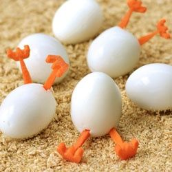 Crack up your family this Easter by serving these Hatching Hard Boiled Eggs.  -Repinned by Totetude.com