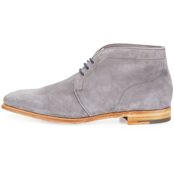 John Lobb Ferris Suede Chukka Boot ($1,435) ❤ liked on Polyvore featuring men's fashion, men's shoes, men's boots, mens shoes chukka boots, mens suede shoes, mens suede chukka boots, mens lace up shoes and mens lace up boots