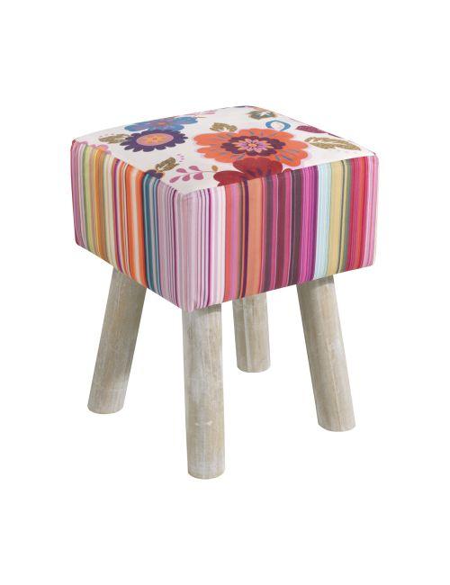 SGABELLO IN LEGNO E TESSUTO O905   Sgabello imbottito in tessuto con gambe in legno. Dimensione: 35,5x35,5x47h cm.