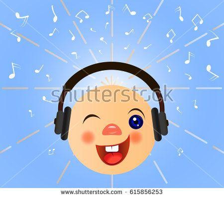 Emoticons listening music. Emoticon with headphones. Music notes background. Vector illustration.