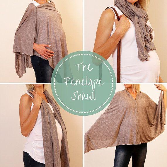 Penelope Shawl by PenelopeAndBella on Etsy Nursing Shawl / Breastfeeding shawl / Poncho / Swaddling Blanket <3