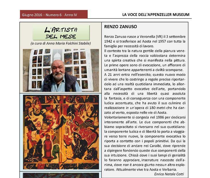 Giugno 2016, n.6, La Voce dell'Appenzeller Museum - Renzo Zanuso, Artista del mese